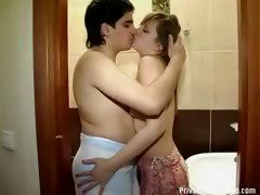 Chick fucked in small bathroom