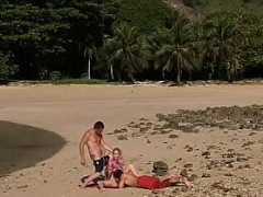 Beach Double Penetration Of A Blonde Babe