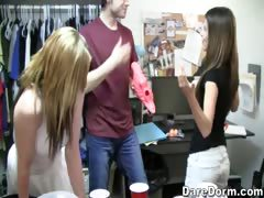 An strip beer pong game goes to the next sexy level.