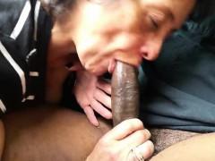 Hungry grandma eating a big black cock