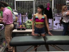 Skinny Asian physical therapist gets banged hard