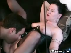 Horny slut sucking and riding big cock
