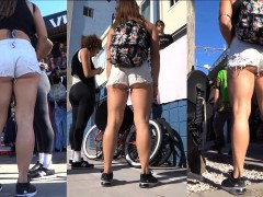 Hot backpacker with a luscious ass in tiny shorts is stalke