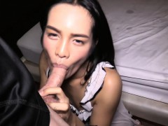 Beautiful ladyboy from Thailand blowjob and doggy anal