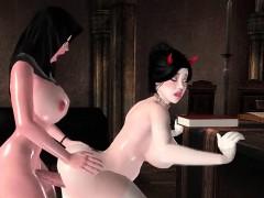 Redhead animated girl licking dick
