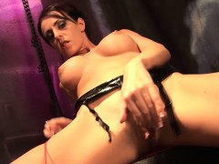 MILF Lady Jones in latex enjoys hot masturbation