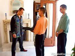 Skinny male servant gangbanged by three muscle studs