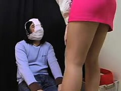 Dominatrix Makes Her Sex Slave Get On His Knees In Girl Pan
