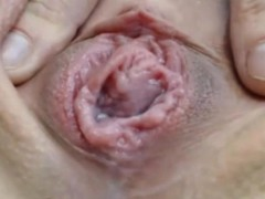 Close up wet creamy pussy fingering on webcam