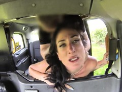 Beautiful MILF blowjobs and then ass fucked in the taxi
