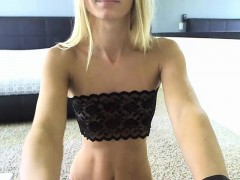 Blonde babe with glasses jerking off hard cock