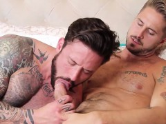 Sweet Gay Boy With Tattoos Gets His Meat Hole Skewered