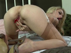 Kinky Blonde Pussy Play In Vintage Nylon And Lingerie