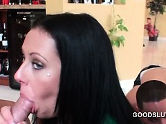 College blue eyed tramp eating hard cock at a sex party