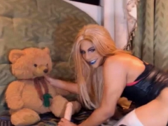 Horny And Wild Shemale Fucking Her Teddy Bear