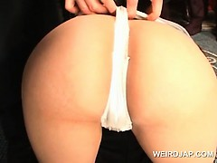 Asian models get stripped and cunt teased with panties