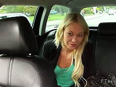 Blonde bent over fucked in fake taxi