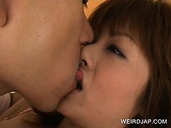 Japanese beautiful chick body teased with hot kisses
