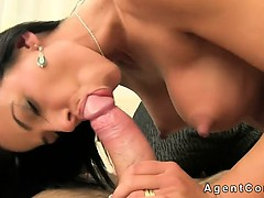 Busty tanned brunette anal fucked on sofa