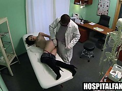 Petite brunette gets fucked hard by her doctor