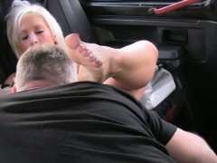 Big tits blonde gives tisjob and blowjob in fake taxi