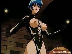 Chains hentai girl sucking dick