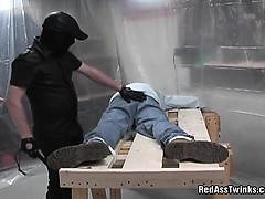Kinky masked dude gets tied and ass spanked, before getting