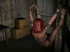Tied up and gagged 3D redhead babe gets fucked hard