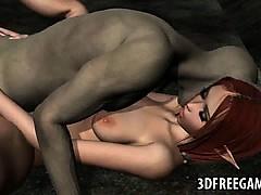 Hot 3D redhead elf babe gets fucked hard by a goblin