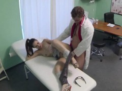Pint sized brunette patient fucked by her doctor