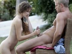Pretty teen girl Vanessa sucking off her first cock ever