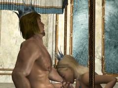 3D hentai Queen hot sucking anime King cock