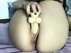 Asian Whore In Stockings With Her Dildo