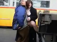 Slut Pleasing A Truckers Cock In Public