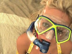 Blonde Girl Gets Cumshot While Wearing Goggles and in Chains