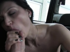 Exhibitionist anal banged in cab