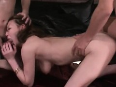 Curvy jap gets her hairy pussy drilled while blowjob