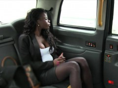 Big boobs ebony screwed by white driver in the backseat