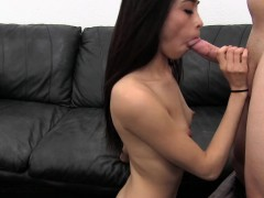 Petite young brunette with small tits enjoys a hard banging