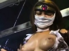 Kinky Oriental fetishist gets tied up and exposes her amazi