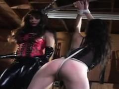 Mistress in latex teasing her slave