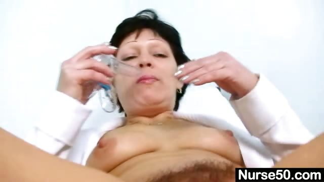 Pussy sexy stretching milf in hairy nurse uniform thanks