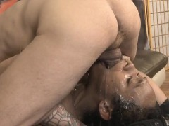 All Black Street Whore Ivy Young Gagging On Dudes White Cock