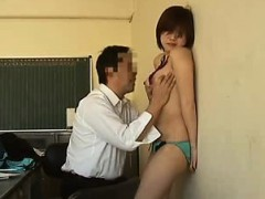 Alluring Asian teen has a horny guy caressing every inch of