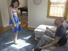 Tiny cheerer Harley Ann Wolf fucked with coach