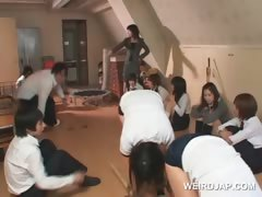 Asian school babes playing sex games in group