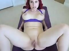 Redhead slut with big boobs goes down