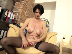 Horny MILF fingering herself while drinking wine