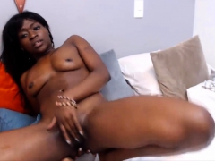 Petite chocolate gal Abel plays with her round tight ass