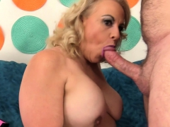 Horny granny shows her mature but sexy tits and ass and